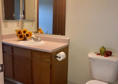 photos of bathroom with toilet, sink, mirror and light